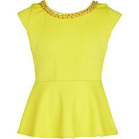 Girls lime green chain trim peplum top