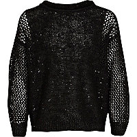 Girls black sequin panel jumper
