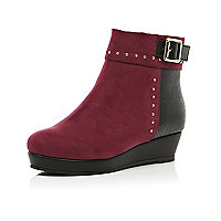 Girls red studded flatform boots