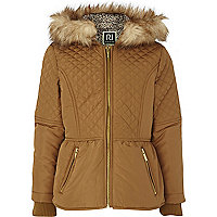 Girls brown quilted padded jacket
