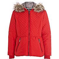 Girls red quilted padded jacket