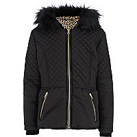 Girls black quilted padded jacket