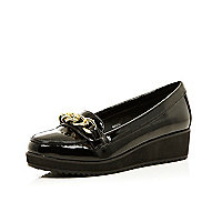 Girls black patent chain loafers