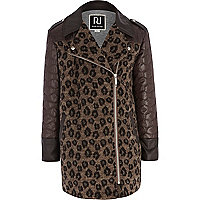 Girls brown leopard print wool coat