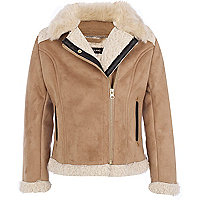 Girls brown shearling biker jacket