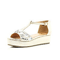 Girls gold gem studded flatform sandals
