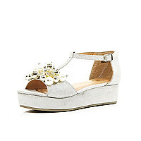 Girls silver pearl trim flatform sandals