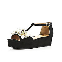 Girls black pearl trim flatform sandals