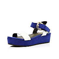 Girls blue colour block flatforms