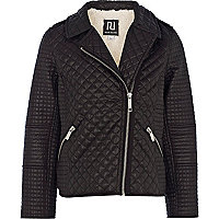 Girls black quilted biker jacket