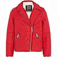 Girls red quilted biker jacket