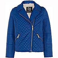 Girls blue quilted biker jacket
