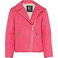 Girls pink quilted biker jacket