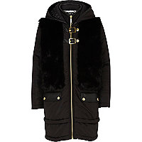 Girls black faux fur front coat