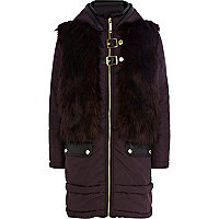 Girls purple faux fur front coat
