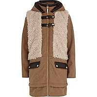 Girls brown borg front coat