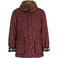 Girls red faux fur collar waxed jacket