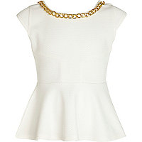 Girls white chain trim peplum top