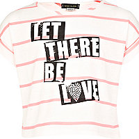 Girls pink stripe let there be love crop top