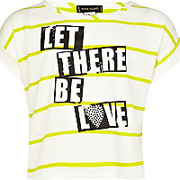 Girls lime stripe let there be love crop top
