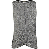 Girls grey studded twist front vest