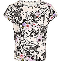 Girls animal and floral print t-shirt