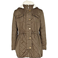 Girls khaki luxe parka jacket