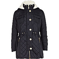 Girls navy luxe parka jacket