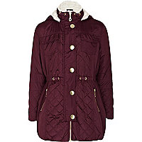 Girls purple luxe parka jacket