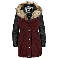 Girls red 2 in 1 parka jacket
