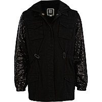 Girls black sequin sleeve military jacket