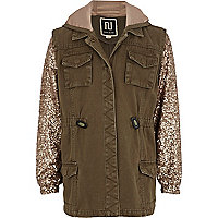 Girls khaki sequin sleeve military jacket