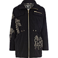 Girls black embroidered parka jacket