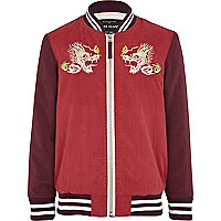 Girls red embroidered bomber jacket