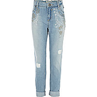 Girls blue light embellished boyfriend jeans