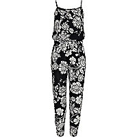 Girls black floral jumpsuit