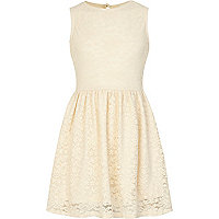 Girls cream lace skater dress