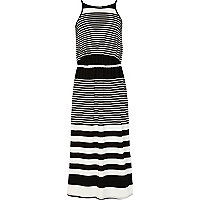Girls black and white stripe maxi dress