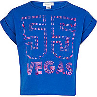 Girls blue Vegas cropped t-shirt