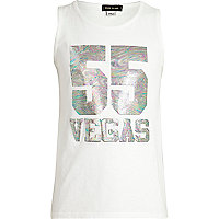 Girls white 55 Vegas tank top