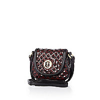 Girls dark red textured cross body bag