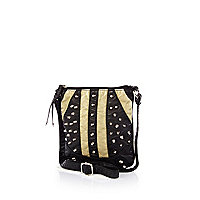 Girls black parka studded messenger bag