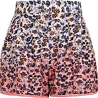 Girls pink floral dip dye shorts