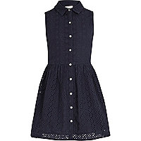Girls navy broderie shirt dress