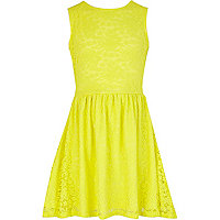 Girls yellow lace skater dress