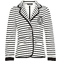 Girls cream stripe blazer