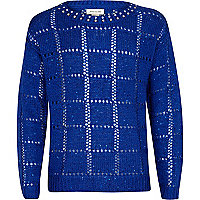 Girls blue studded neck jumper