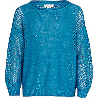 Girls blue sequin panel jumper