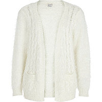 Girls cream cable knit fluffy cardigan