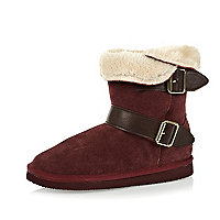 Girls red faux fur lined side buckle boots